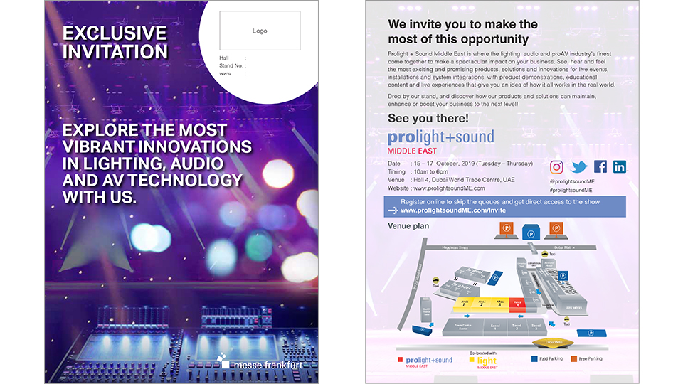 Prolight + Sound Middle East - Personalized Printed Invitations
